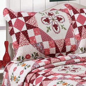 Pink Colorful Floral Patchwork Quilt Single Piece