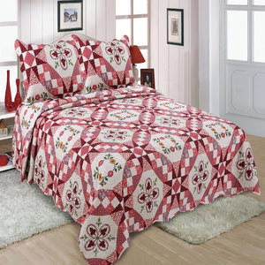 Pink Colorful Floral Patchwork Quilt Single Piece With Two Pillow Cover