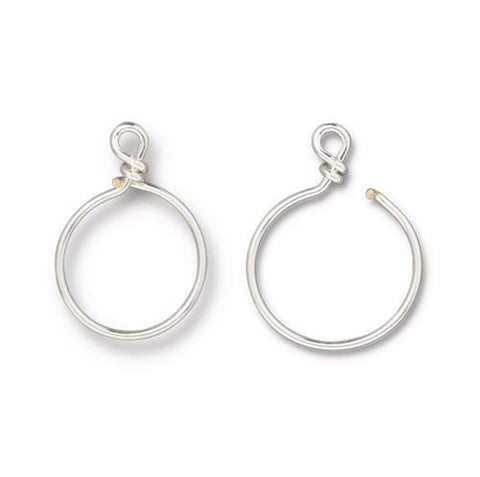 Small Charm Keeper Hoop 20mm Inside Diameter 17g Wire - Qty 1 - TierraCast Silver Plated LEAD FREE Brass