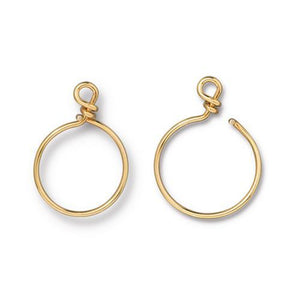 Small Charm Keeper Hoop 20mm Inside Diameter 17g Wire - Qty 1 - TierraCast 22kt Gold Plated LEAD FREE Brass