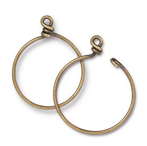 Medium Charm Keeper Hoop 32mm Inside Diameter 15g Wire - Qty 1 - TierraCast Brass Ox Plated LEAD FREE Brass