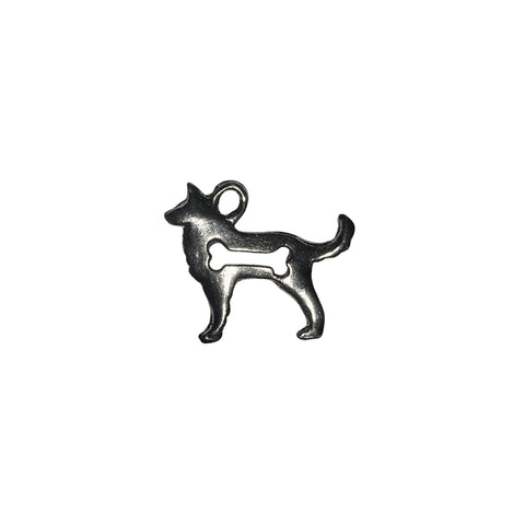 Dog with Bone Cut Out Charms - Qty 5 - Lead Free Pewter Silver - American Made