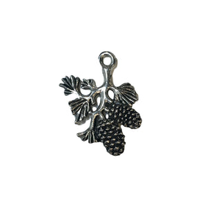 Branch with Pine Cones Charms - Qty 5 - Lead Free Pewter Silver - American Made