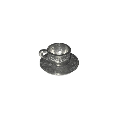 Tea Cup and Saucer Charms - Qty 5 - Lead Free Pewter Silver - American Made