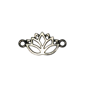 Lotus Flower Link - Qty 5 - Lead Free Pewter Silver - American Made