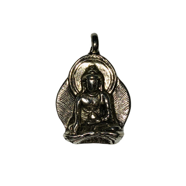 Sitting Buddha Pendant Charm - Qty 5 - Lead Free Pewter Silver - American Made