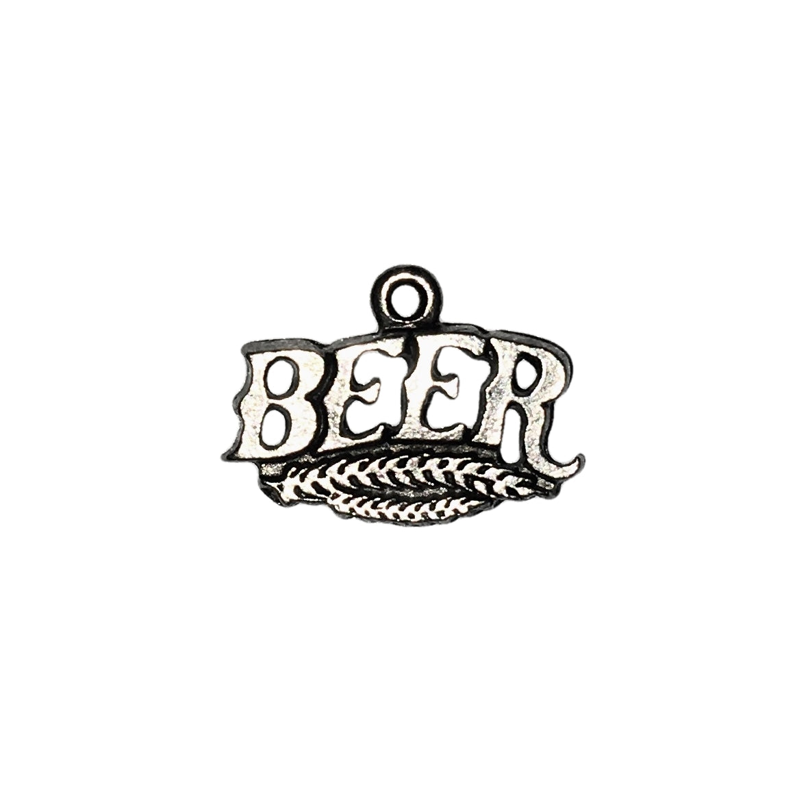 Beer Word Charms - Qty of 5 Charms - Lead Free Pewter Silver - American Made