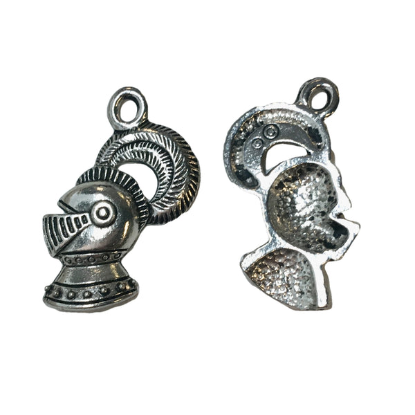 Knight Helmet Charms - Qty of 5 Charms - Lead Free Pewter Silver - American Made