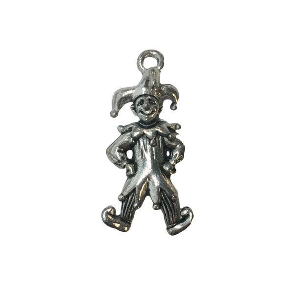 Jester Clown Charms - Qty of 5 Charms - Lead Free Pewter Silver - American Made