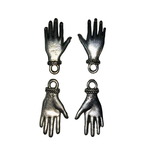 Large Left & Right Hand Charms - Qty 2 Pairs - Lead Free Pewter Silver