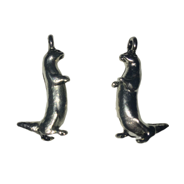 Otter Charms - Qty 5 - Lead Free Pewter Silver - American Made