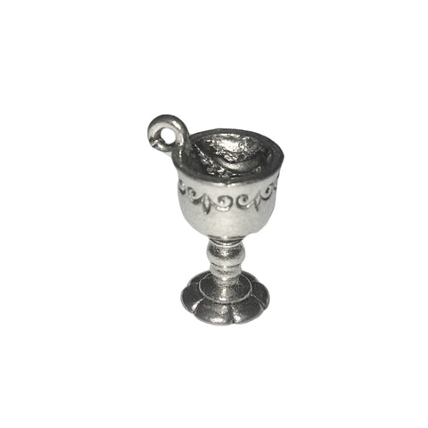 Wine Goblet Charms - Qty 5 - Lead Free Pewter Silver - American Made