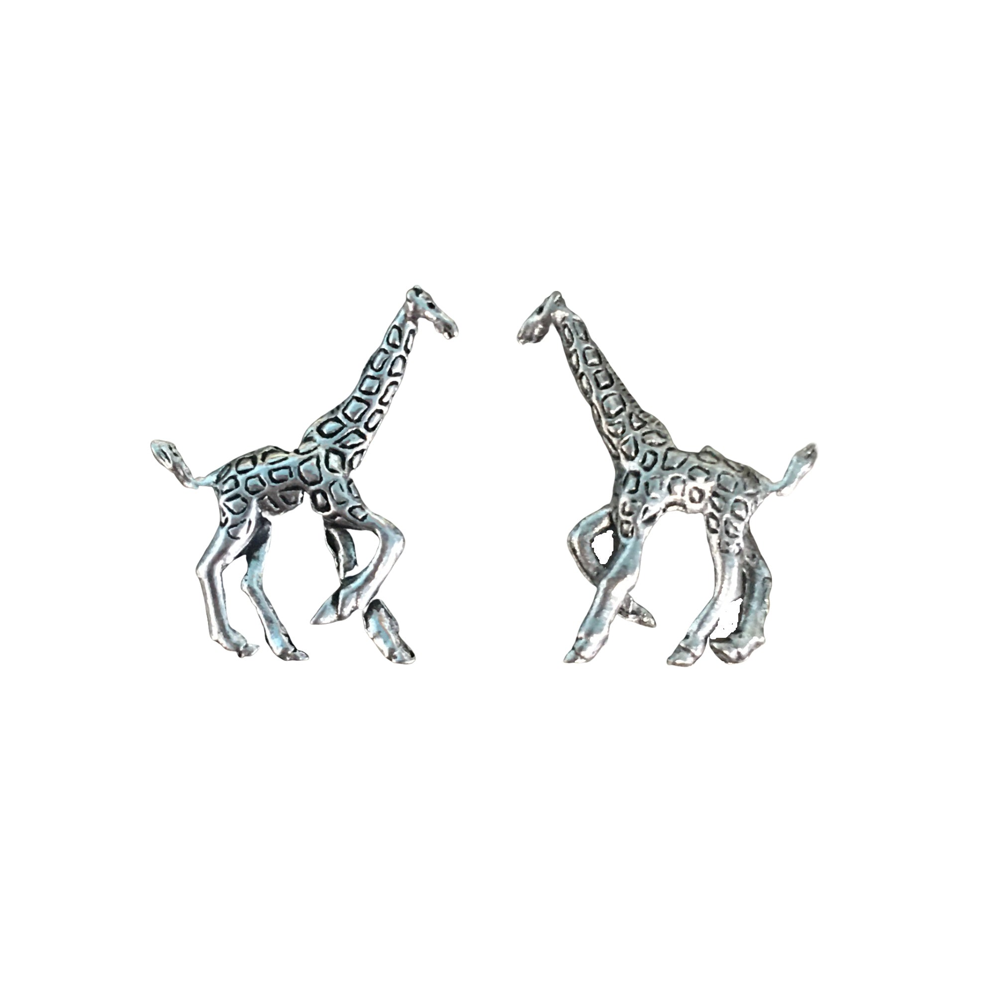 Giraffe Beads - Qty 5 - Lead Free Pewter Silver - American Made