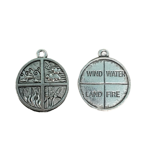 Four Elements Charms - Qty of 5 Charms - Lead Free Pewter Silver - American Made
