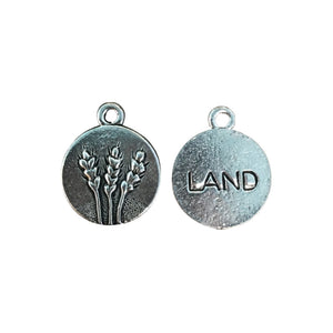 Land Element Charms - Qty of 5 Charms - Lead Free Pewter Silver - American Made