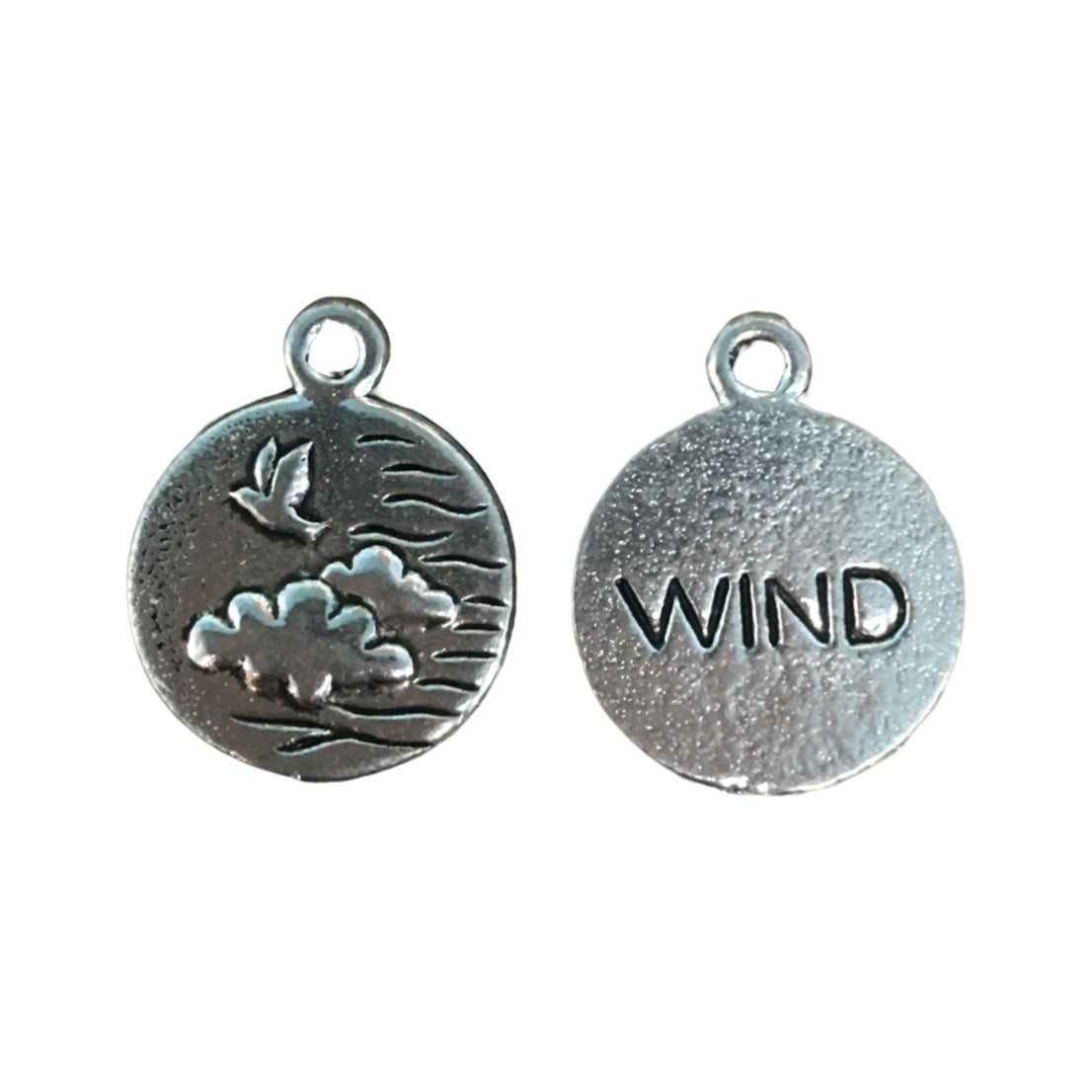 Wind Element Charms - Qty of 5 Charms - Lead Free Pewter Silver - American Made