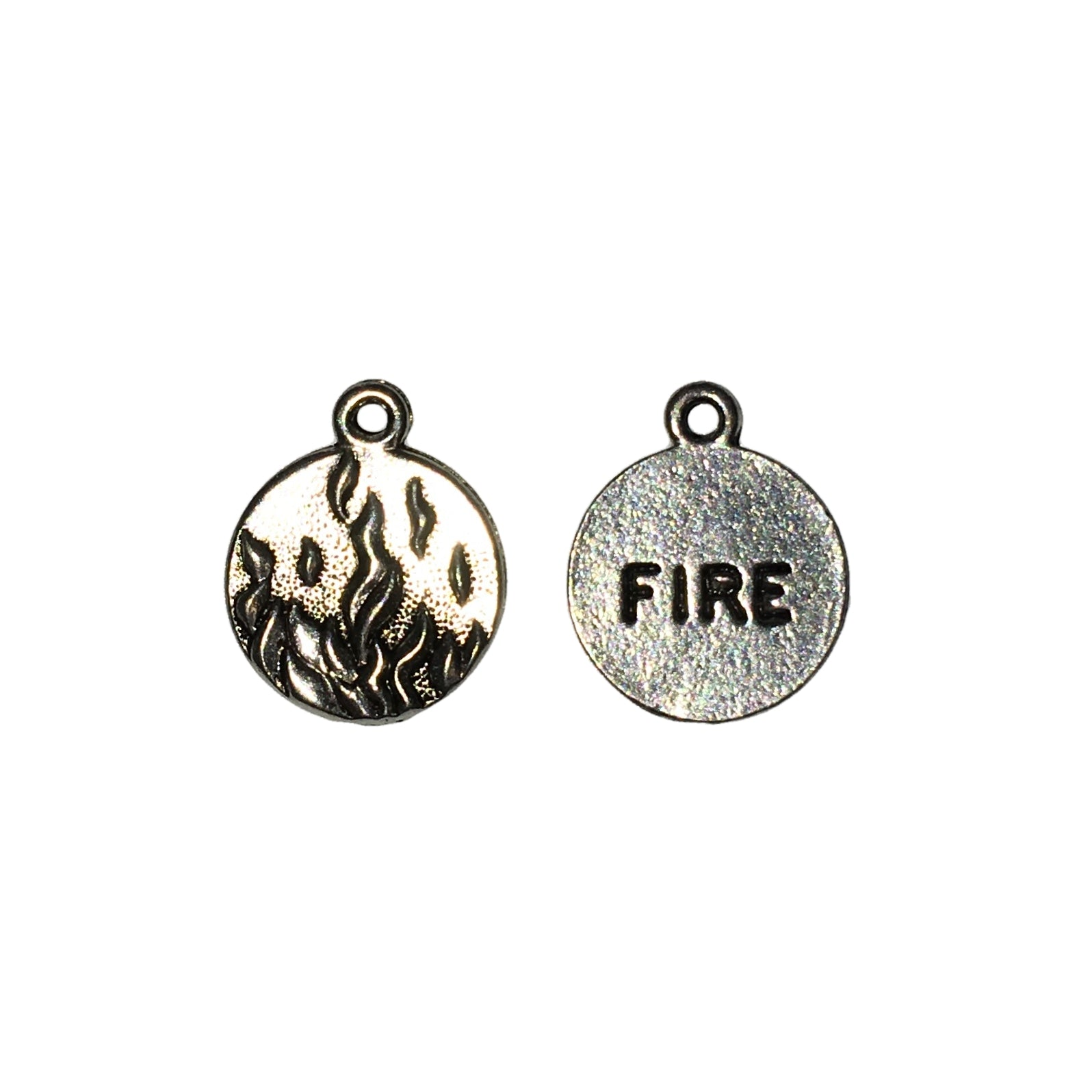 Fire Element Charms - Qty of 5 Charms - Lead Free Pewter Silver - American Made