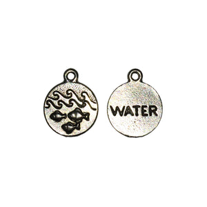 Water Element Charms - Qty of 5 Charms - Lead Free Pewter Silver - American Made