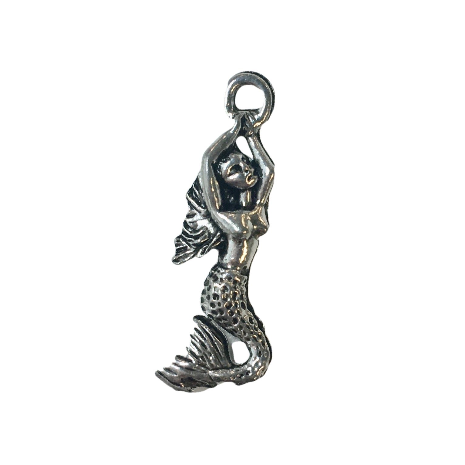 Mermaid Swimming Charms - Qty 5 - Lead Free Pewter Silver - American Made