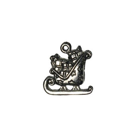 Sleigh with Presents Charms - Qty 5 - Lead Free Pewter Silver - American Made