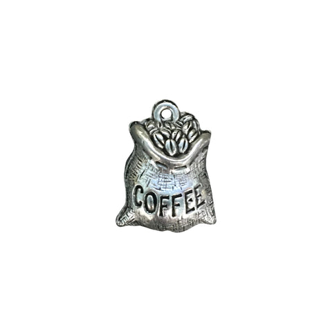 Coffee Bean Bag Charms - Qty 5 - Lead Free Pewter Silver - American Made