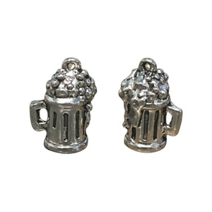 Frosty Beer Mug Charms - Qty 5 - Lead Free Pewter Silver - American Made
