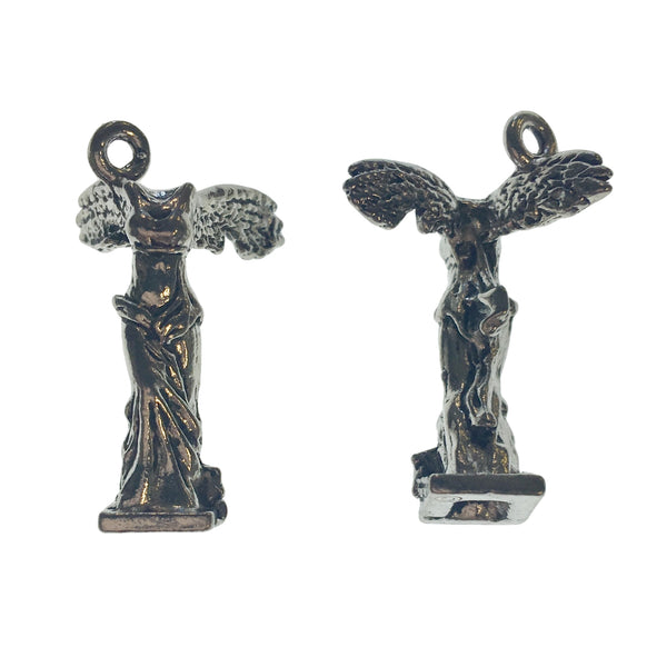 Winged Victory of Samothrace Goddess Charms - Qty 5 - Lead Free Pewter Silver - American Made