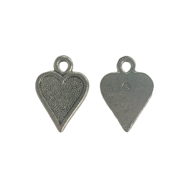 Heart Charms - Qty 5 Charms - Lead Free Pewter Silver - American Made