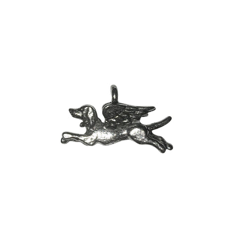 Angel Dog Charms - Qty 5 - Lead Free Pewter Silver - American Made