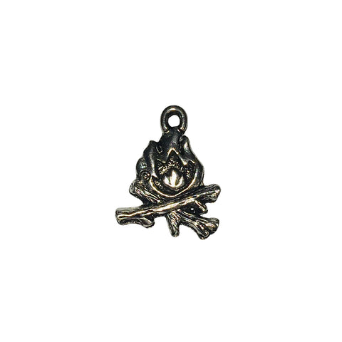 Camp Fire Charms - Qty 5 - Lead Free Pewter Silver - American Made