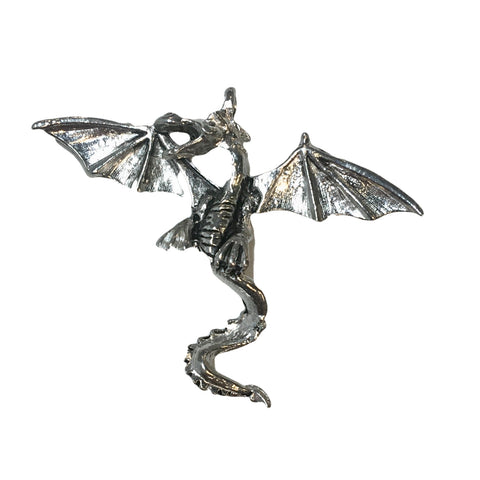 Large Dragon Pendant - Qty 1 Charm - Lead Free Pewter Silver - American Made