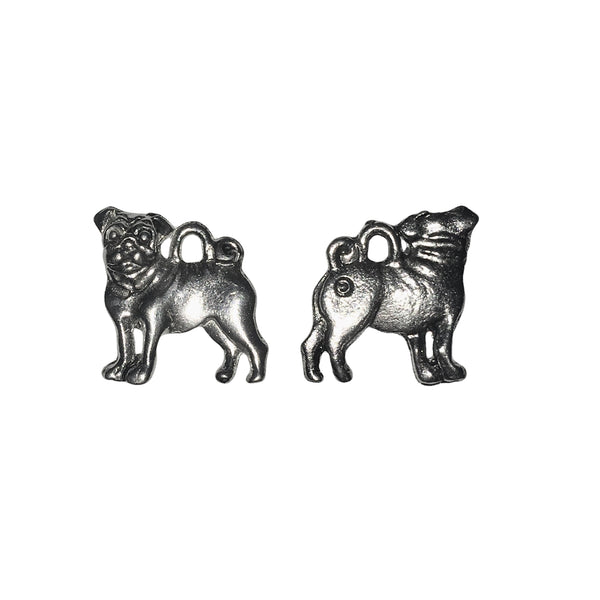 Pug Dog Charms - Qty 5 - Lead Free Pewter Silver - American Made