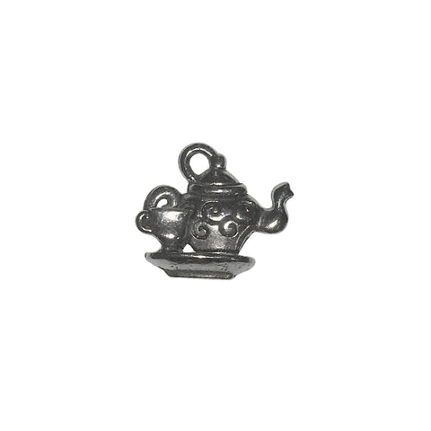 Tea Pot with Cup Charms - Qty 5 - Lead Free Pewter Silver - American Made