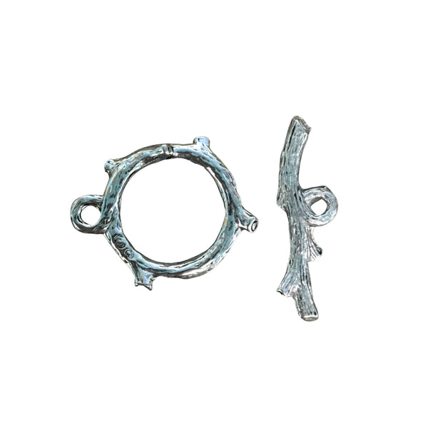 Tree Branch Toggle Clasp - Qty of 1 Clasp Set - Lead Free Pewter Silver - American Made