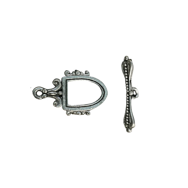 Fancy Crest Toggle Clasp - Qty of 1 Clasp Set - Lead Free Pewter Silver - American Made