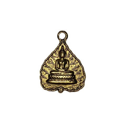 Tibetan Leaf Buddha Charms - Qty of 5 Charms - 24kt Gold Plated Lead Free Pewter - American Made