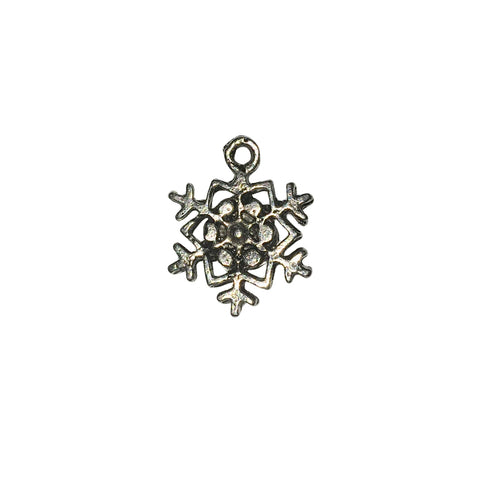 Snowflake 3 Charms - Qty 5 - Lead Free Pewter Silver - American Made
