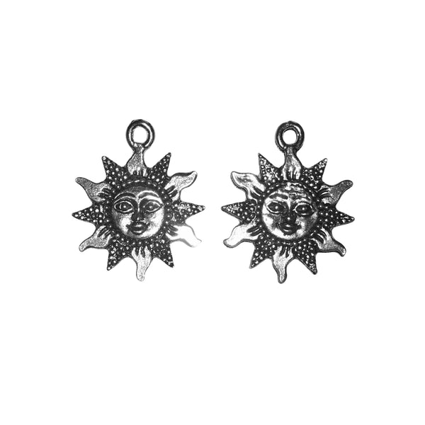 Sun with Face Charms - Qty 5 - Lead Free Pewter Silver - American Made