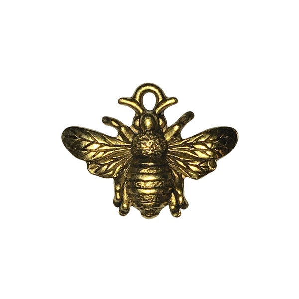 Queen Bee with Crown Charms - Qty 5 - 24kt Gold Plated Lead Free Pewter - American Made