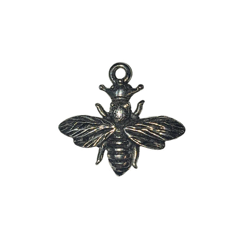 Queen Bee with Crown Charms - Qty 5 - Lead Free Pewter Silver - American Made