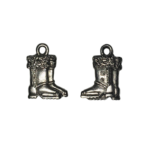 Snow Boots Charms - Qty 5 - Lead Free Pewter Silver - American Made