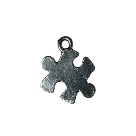 Puzzle Piece Charms - Qty 5 - Lead Free Pewter Silver