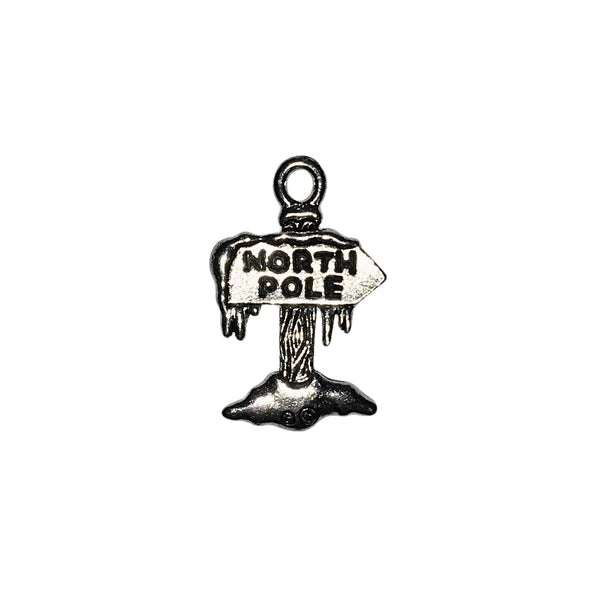 North Pole Sign Charms - Qty 5 - Lead Free Pewter Silver - American Made