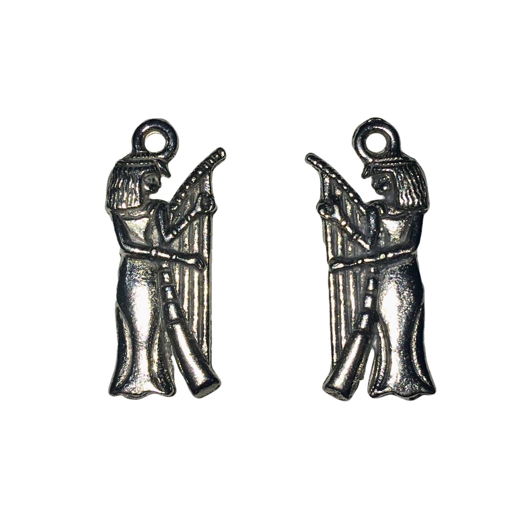 Egyptian Musician Charms - Qty of 5 - Lead Free Pewter Silver - American Made