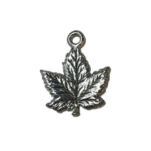 Maple Leaf Charms - Qty 5 - Lead Free Pewter Silver - American Made