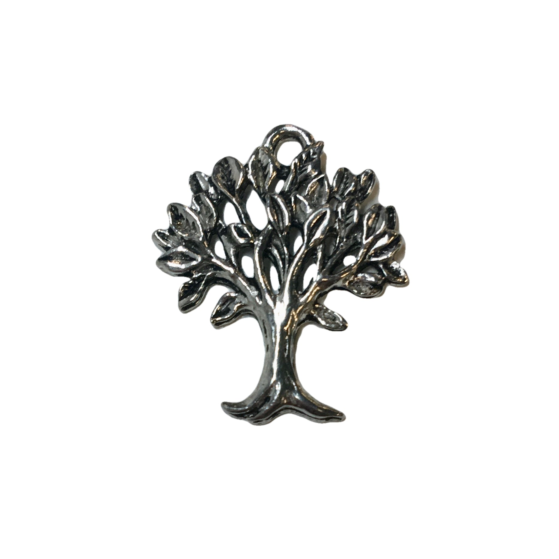 Tree of Life with Leaves Charms - Qty 5 - Lead Free Pewter Silver - American Made
