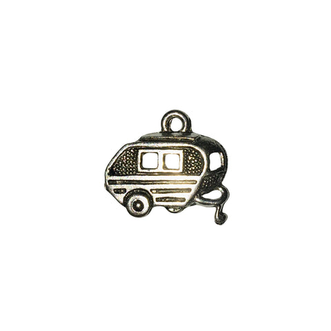 Camping Trailer Charms - Qty 5 - Lead Free Pewter Silver - American Made