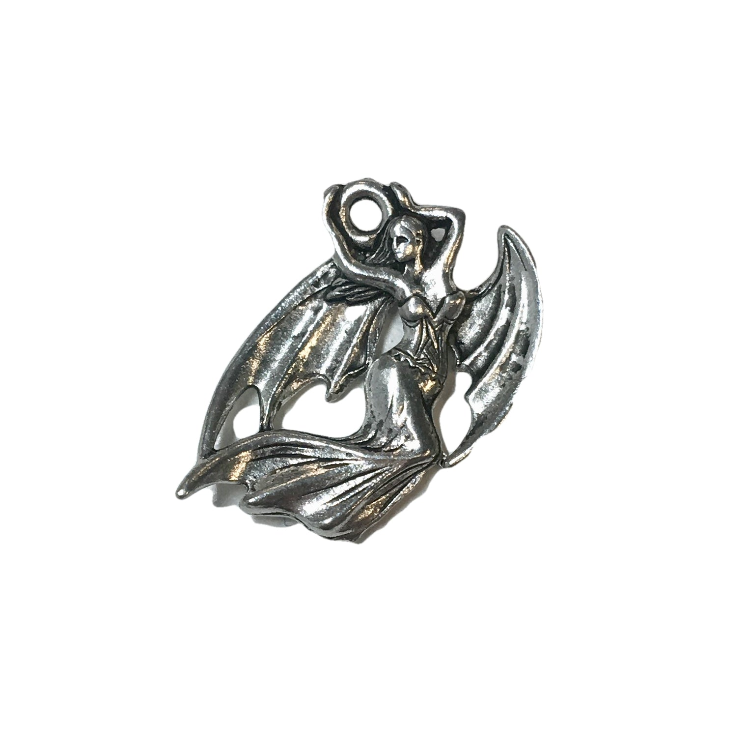 Dragon Woman Charms - Qty 5 - Lead Free Pewter Silver - American Made