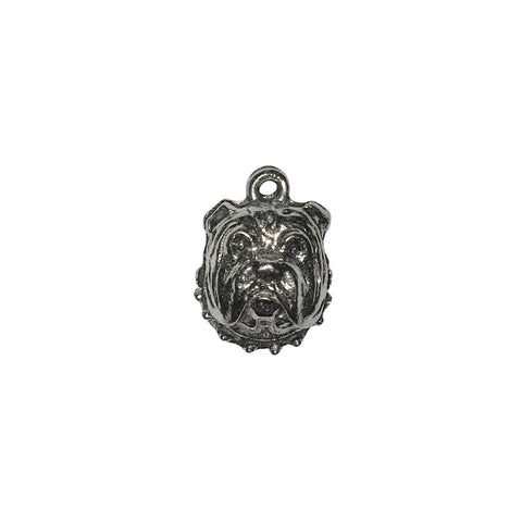 Bull Dog Head Charms - Qty 5 - Lead Free Pewter Silver - American Made