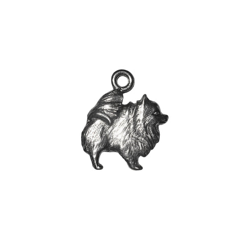 Pomeranian Dog Charms - Qty 5 - Lead Free Pewter Silver - American Made